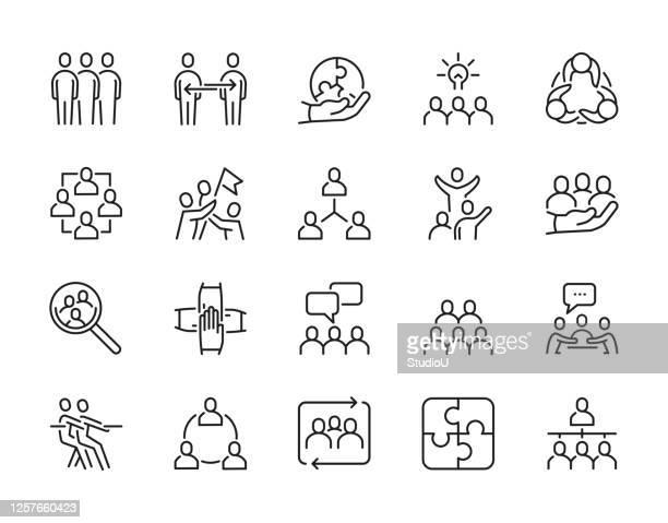 ilustraciones, imágenes clip art, dibujos animados e iconos de stock de iconos de línea de trazo editables en equipo - equipo