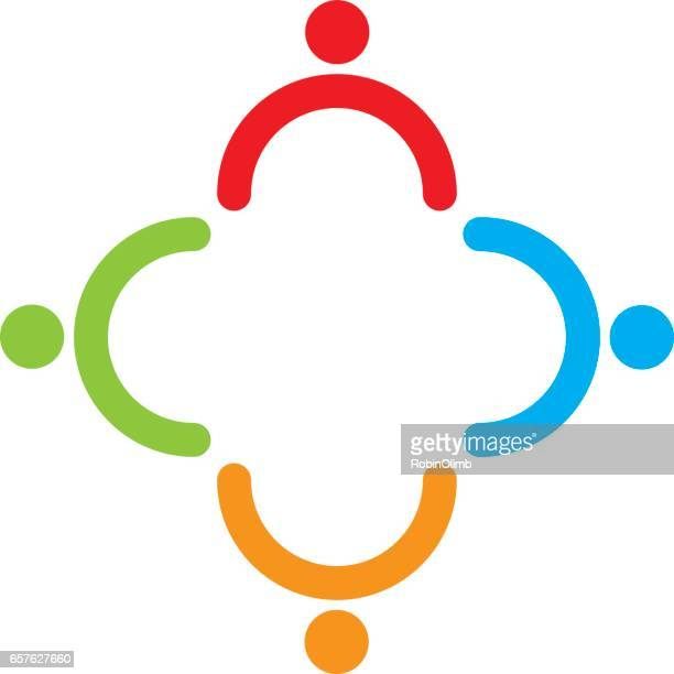 teamwork figures icon - four people stock illustrations