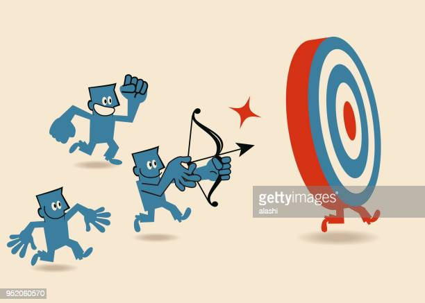 Teamwork group of businessmen fighting for one common goal, aiming and shooting an arrow