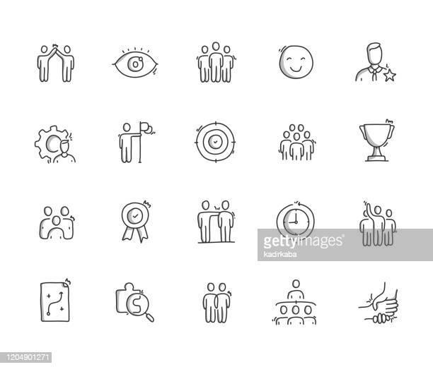 illustrations, cliparts, dessins animés et icônes de ensemble d'icônes de ligne de dessin de main de travail d'équipe - dessin