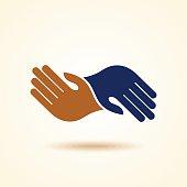 Teamwork Hands Logo. Vector illustration.