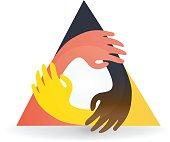 Teamwork hug hands people around. Business  id card icon vector