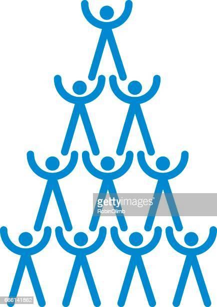 illustrazioni stock, clip art, cartoni animati e icone di tendenza di piramide umana del lavoro di squadra - reggere