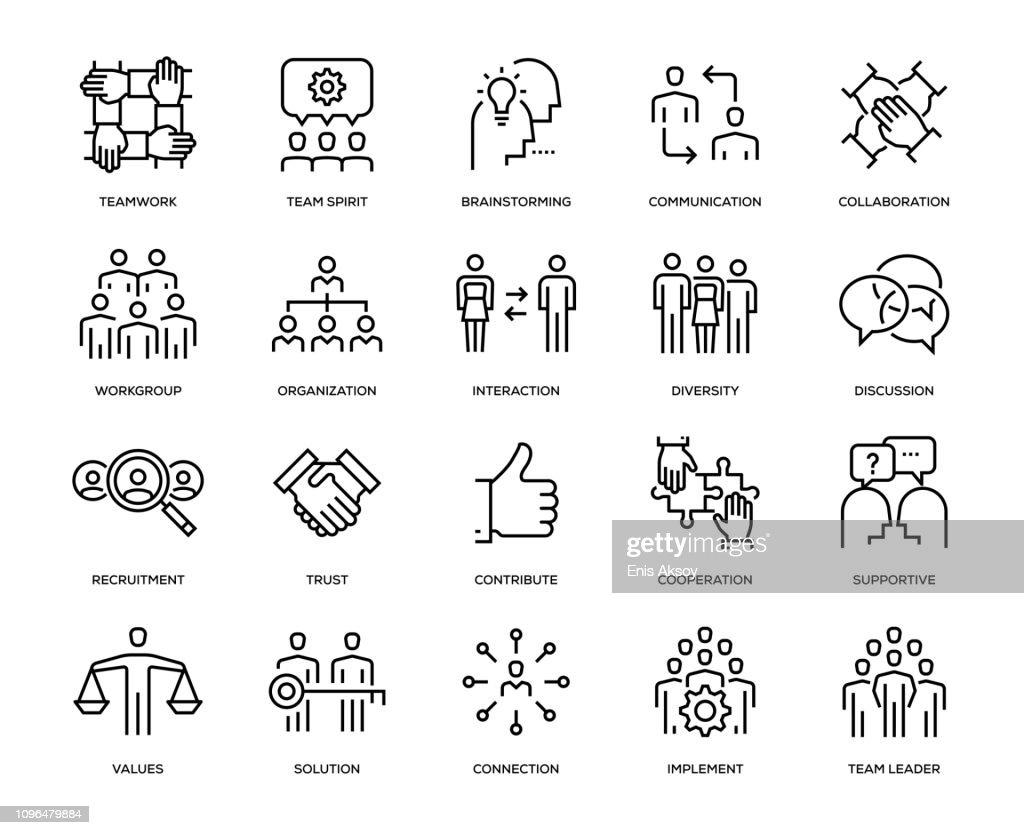 チームワークのアイコンを設定 : ストックイラストレーション