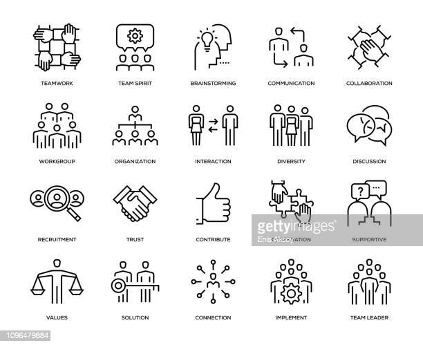 stockillustraties, clipart, cartoons en iconen met teamwork icon set - sociale bijeenkomst
