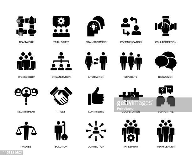 teamwork icon set - new hire stock illustrations