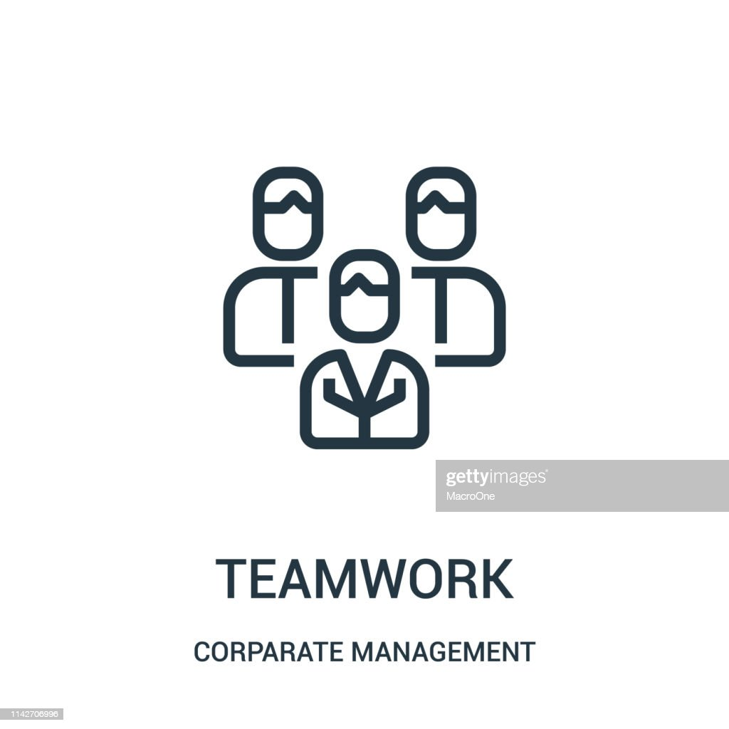 teamwork icon vector from corparate management collection. Thin line teamwork outline icon vector illustration. Linear symbol for use on web and mobile apps, logo, print media.