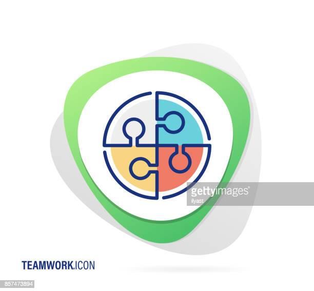 チームワークアイコン - 全部点のイラスト素材/クリップアート素材/マンガ素材/アイコン素材