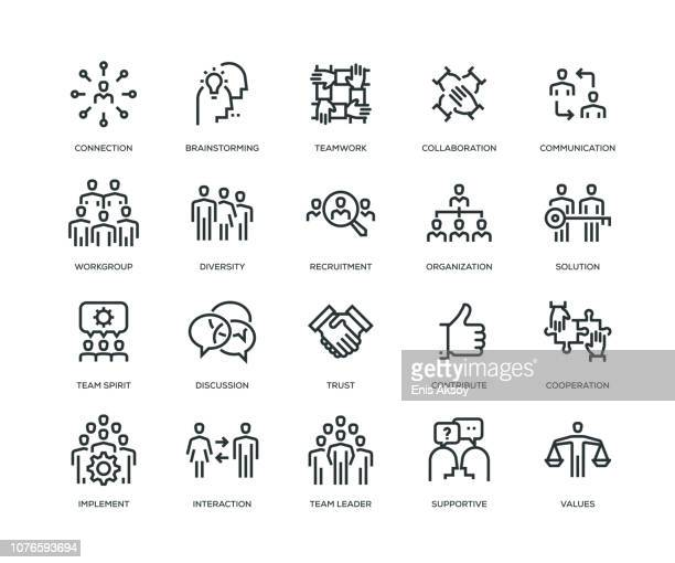 teamwork icons - line series - diversity stock illustrations