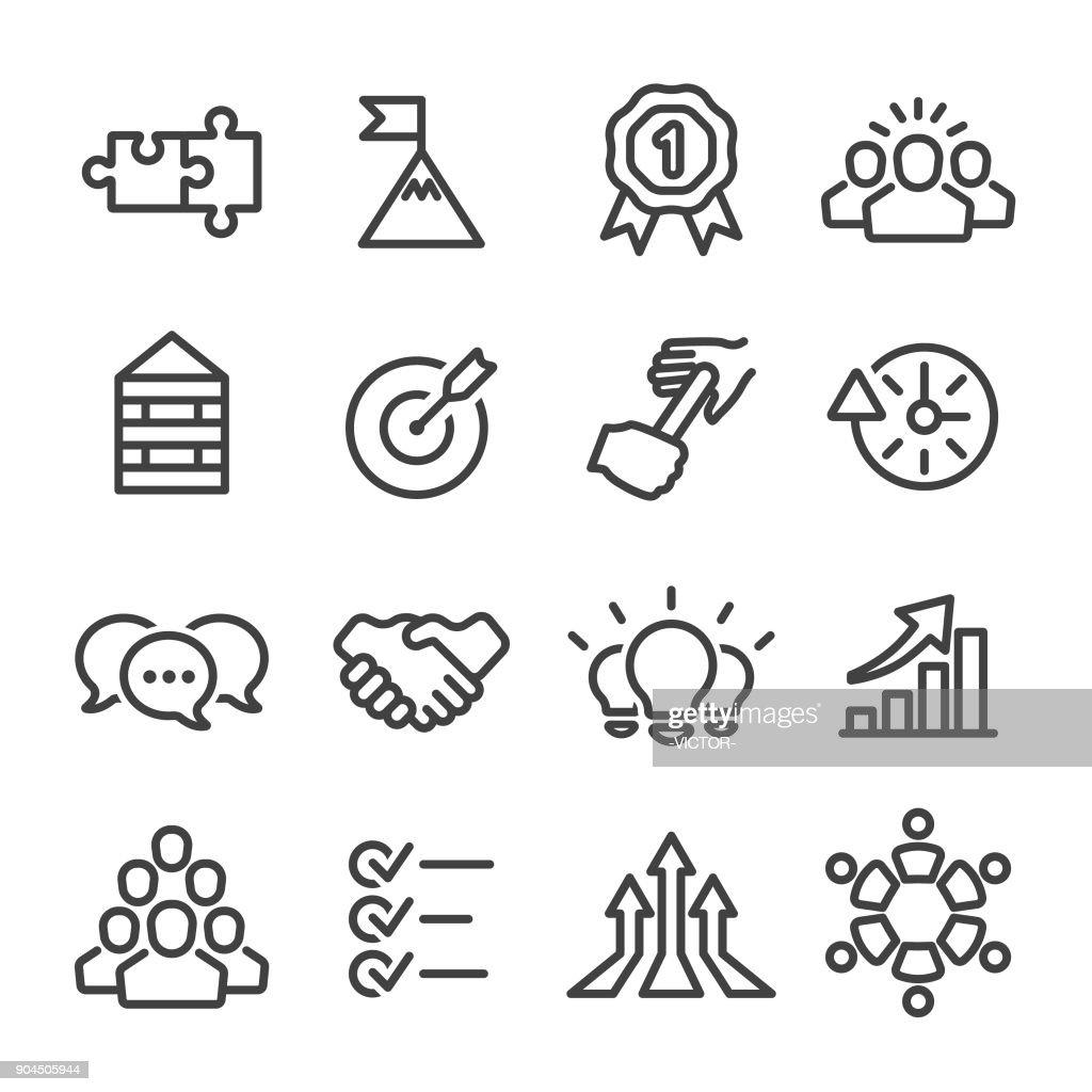 Trabalho em equipe ícones - linha série : Ilustração