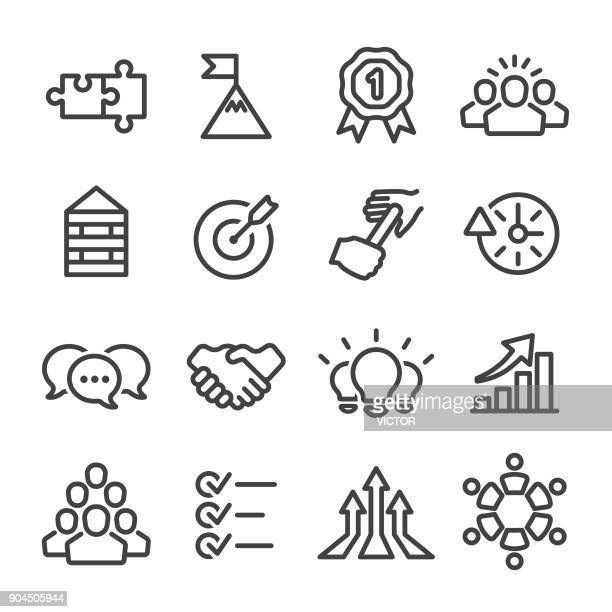 teamwork icons - line series - group of objects stock illustrations