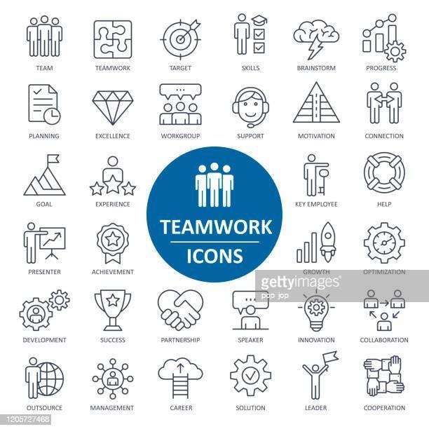 stockillustraties, clipart, cartoons en iconen met teamwork icons - thin line vector - aanvraagformulier