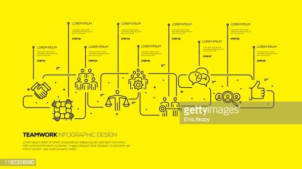 illustrazioni stock, clip art, cartoni animati e icone di tendenza di progettazione infografica del lavoro di squadra - società
