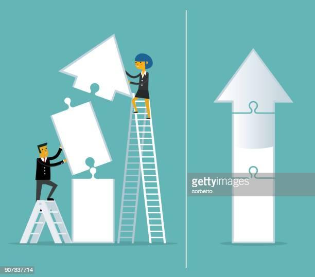 teamwork - jigsaw puzzle - arrow - high up stock illustrations, clip art, cartoons, & icons