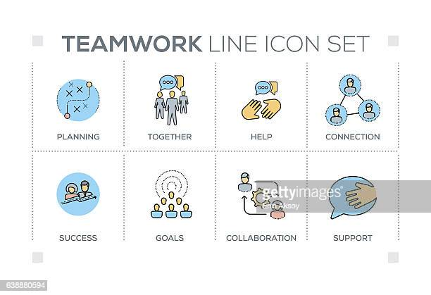 illustrations, cliparts, dessins animés et icônes de teamwork keywords with line icons - collègue de bureau