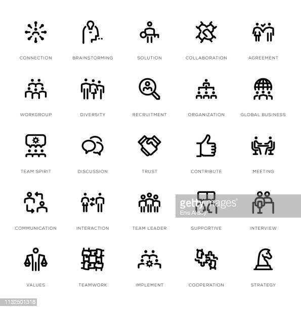 teamwork line icon set - new hire stock illustrations