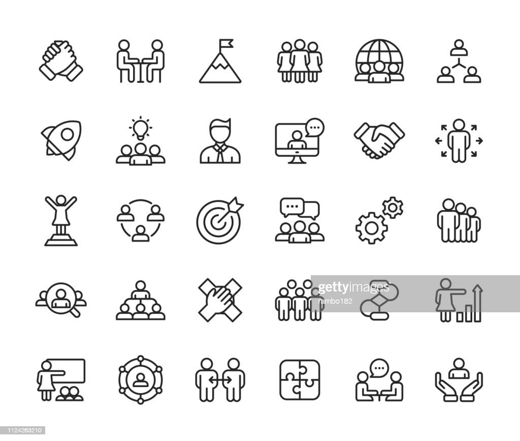 Teamwork Line Icons. Editable Stroke. Pixel Perfect. For Mobile and Web. Contains such icons as Leadership, Handshake, Recruitment, Organizational Structure, Communication. : Stock Illustration