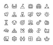 Teamwork Line Icons. Editable Stroke. Pixel Perfect. For Mobile and Web. Contains such icons as Leadership, Handshake, Recruitment, Organizational Structure, Communication.