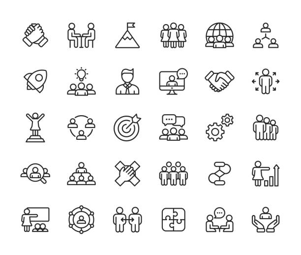 teamwork line icons. editable stroke. pixel perfect. for mobile and web. contains such icons as leadership, handshake, recruitment, organizational structure, communication. - vector stock illustrations