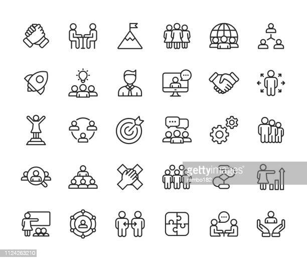 teamwork line icons. editable stroke. pixel perfect. for mobile and web. contains such icons as leadership, handshake, recruitment, organizational structure, communication. - leadership stock illustrations