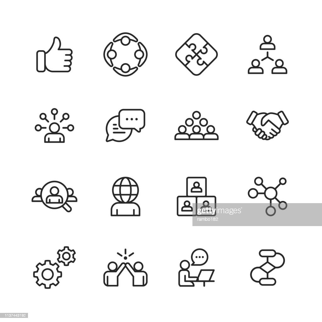 Teamwork Line Icons. Editable Stroke. Pixel Perfect. For Mobile and Web. Contains such icons as Like Button, Cooperation, Handshake, Human Resources, Text Messaging. : Illustrazione stock
