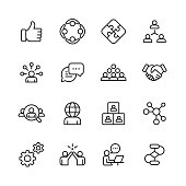 Teamwork Line Icons. Editable Stroke. Pixel Perfect. For Mobile and Web. Contains such icons as Like Button, Cooperation, Handshake, Human Resources, Text Messaging.