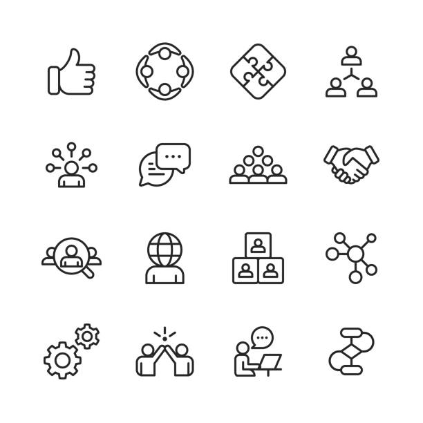 teamwork line icons. editable stroke. pixel perfect. for mobile and web. contains such icons as like button, cooperation, handshake, human resources, text messaging. - vector stock illustrations