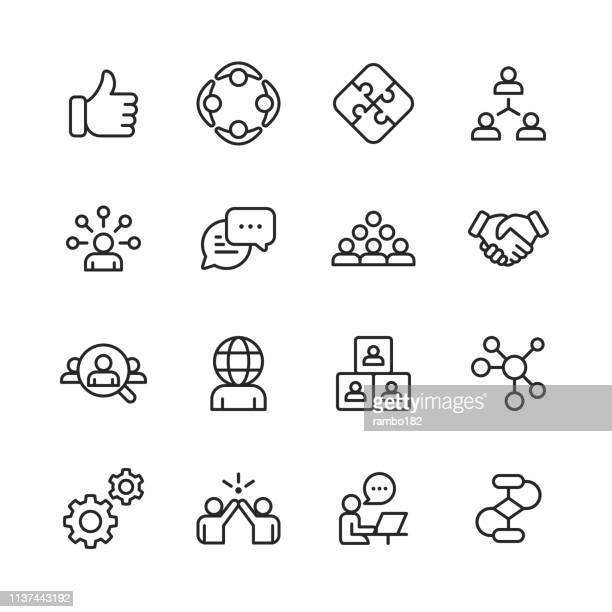 "teamwork line icons. bearbeitbare stroke. pixel perfect. für mobile und web. enthält solche icons wie ""like button,"" cooperation, handshake, human resources, text messaging "". - forschung stock-grafiken, -clipart, -cartoons und -symbole"