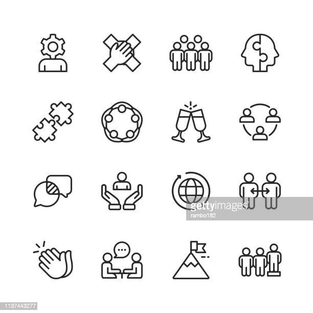 teamwork line icons. editable stroke. pixel perfect. for mobile and web. contains such icons as hierarchy, jigsaw puzzle, business strategy, success. - labor union stock illustrations
