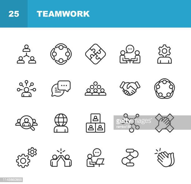 illustrazioni stock, clip art, cartoni animati e icone di tendenza di teamwork line icons. editable stroke. pixel perfect. for mobile and web. contains such icons as business meeting, cooperation, applause, high five, leadership. - competizione
