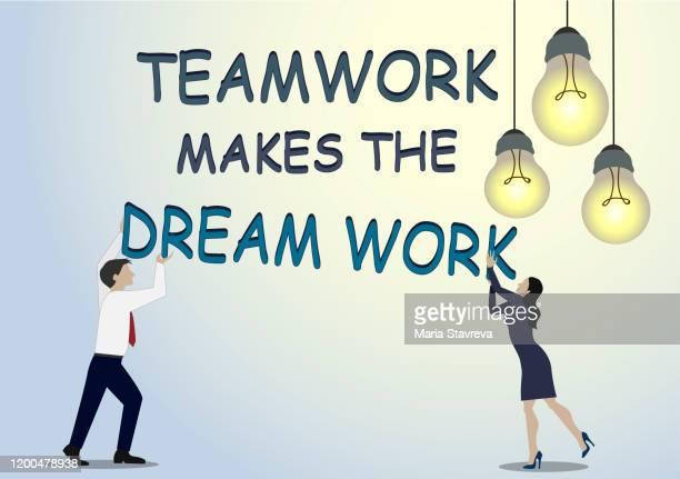 ilustrações, clipart, desenhos animados e ícones de o trabalho em equipe faz o sonho funcionar. - sonhador
