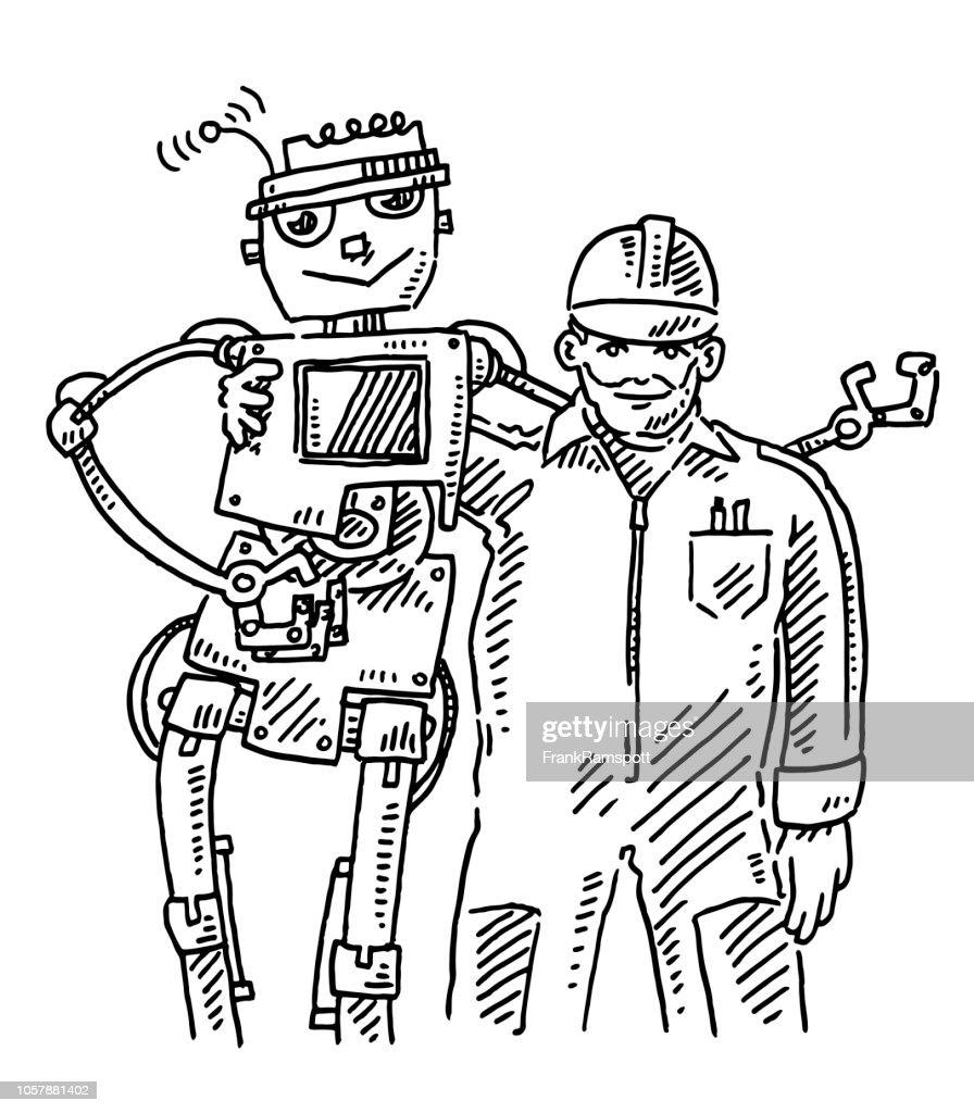 Teamarbeit Mensch und Roboter-Zeichnung : Vektorgrafik