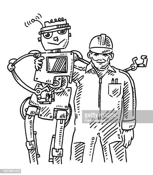 Teamarbeit Mensch und Roboter-Zeichnung