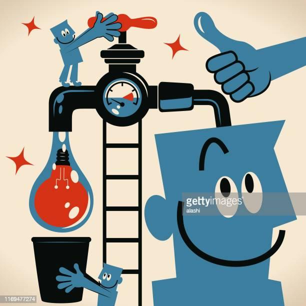 ilustrações, clipart, desenhos animados e ícones de equipe o homem que gira sobre uma torneira e uma água com uma ampola da idéia que flui do faucet e do colega de trabalho que prende uma cubeta para o travar - water meter