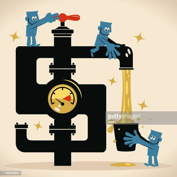 teamwork man turning on dollar sign tap and money water flowing from the faucet and businessman taking a bucket of water - water meter stock illustrations, clip art, cartoons, & icons