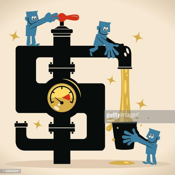 ilustrações, clipart, desenhos animados e ícones de equipe o homem que gira na torneira do sinal de dólar e na água do dinheiro que flui do faucet e do homem de negócios - water meter