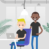 Teamwork. Office routine life. Colleagues discussing a project. Senior manager supervising a junior manager. Modern loft office interior. Flat vector characters. Millennials at work, illustration.