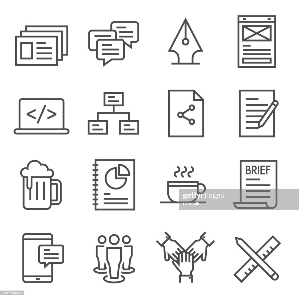 Teamwork Outline Vector Icon Set. Included the icons as presentation, comment, mockups, flow chart, coffee break, beer and more.