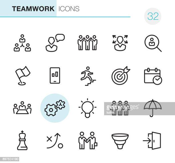 teamwork - pixel perfect icons - teamwork stock illustrations