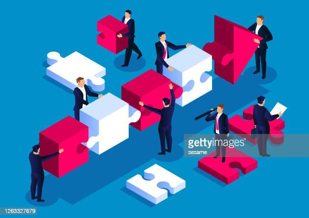 illustrazioni stock, clip art, cartoni animati e icone di tendenza di freccia puzzle lavoro di squadra, concetto di cooperazione e sviluppo aziendale - realizzazione