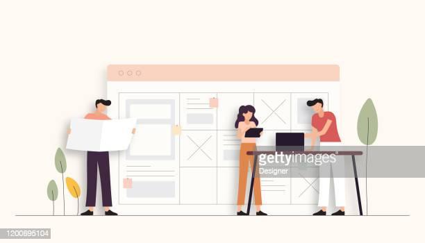 teamarbeit verwandte vektor-illustration. flaches modernes design - kommunikation themengebiet stock-grafiken, -clipart, -cartoons und -symbole