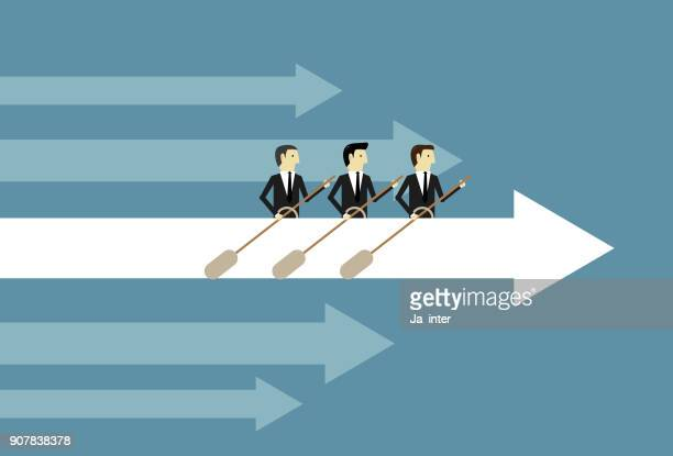 teamwork rowing arrow - sports team stock illustrations