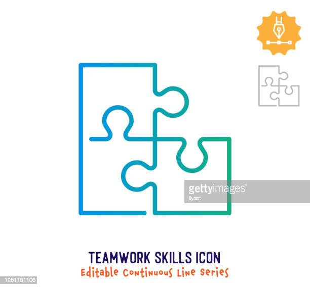 teamwork skills continuous line editable stroke line - employee engagement stock illustrations