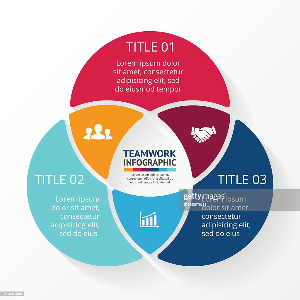 Teamwork social infographic, diagram, presentation. 3 options.