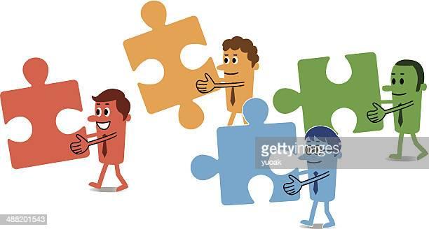 illustrations, cliparts, dessins animés et icônes de travail d'équipe des solutions - quatre personnes
