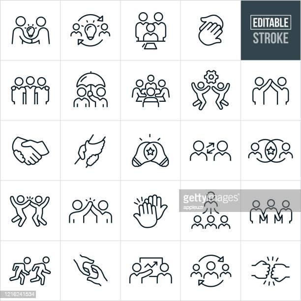 illustrations, cliparts, dessins animés et icônes de teamwork thin line icons - course modifiable - partenariat
