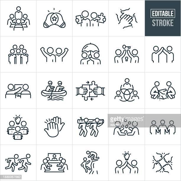 teamwork thin line icons - bearbeitbare kontur - hingabe stock-grafiken, -clipart, -cartoons und -symbole