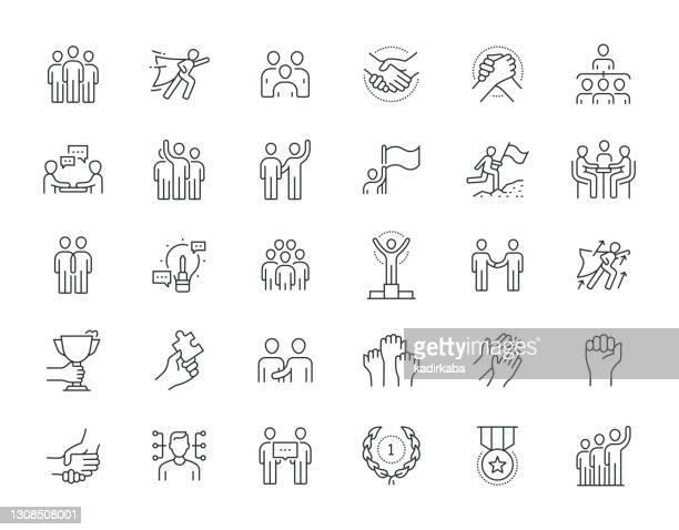 illustrazioni stock, clip art, cartoni animati e icone di tendenza di set di icone della serie thin line di lavoro di squadra - incoraggiamento