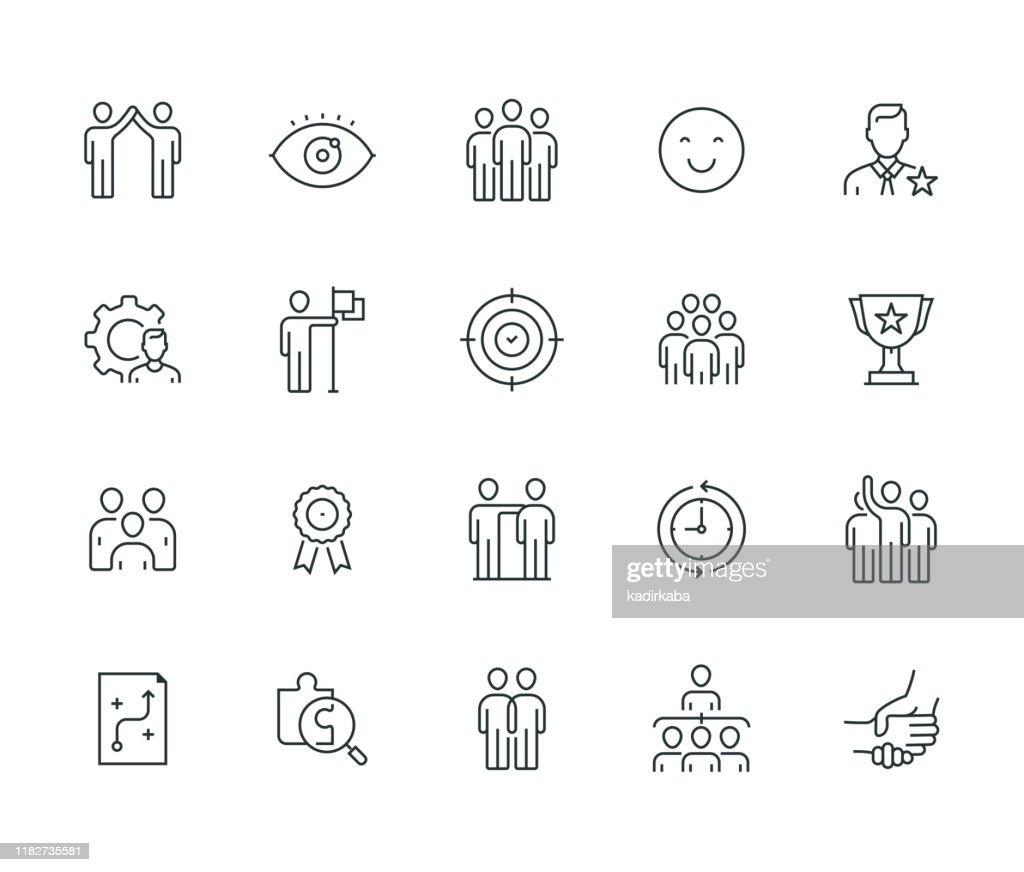 Teamwork Serie Linea Sottile : Illustrazione stock