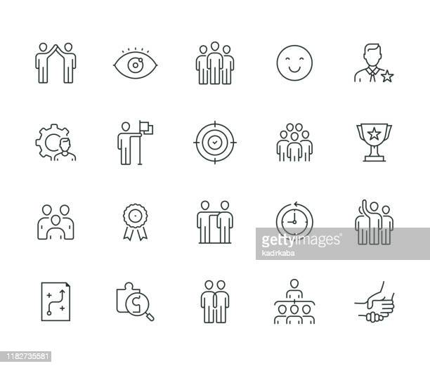 teamwork thin line series - employee stock illustrations